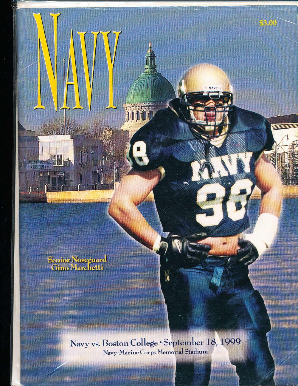 9/18 1999 Navy vs Boston College football program bx1