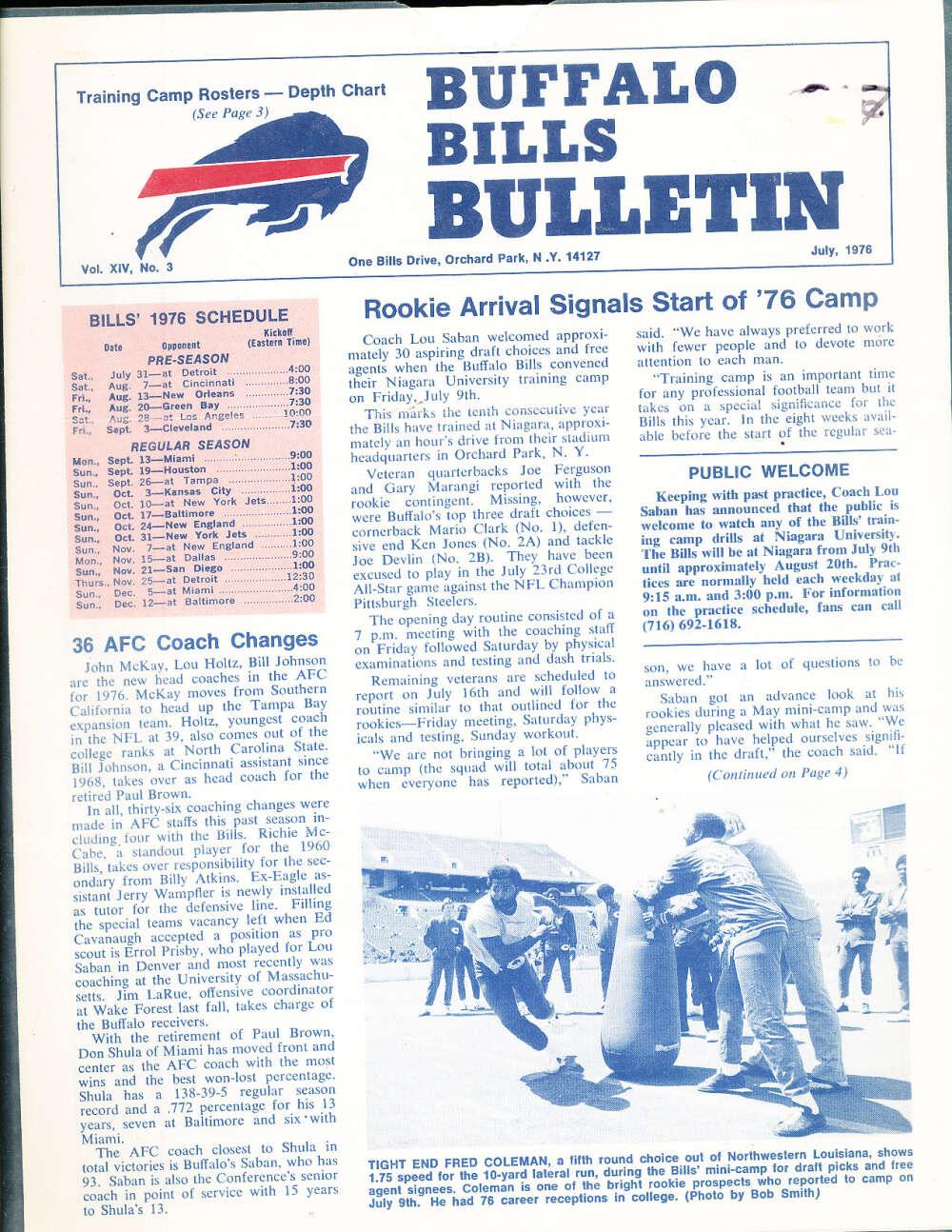 July 1976 Buffalo Bills Newsletter bx1