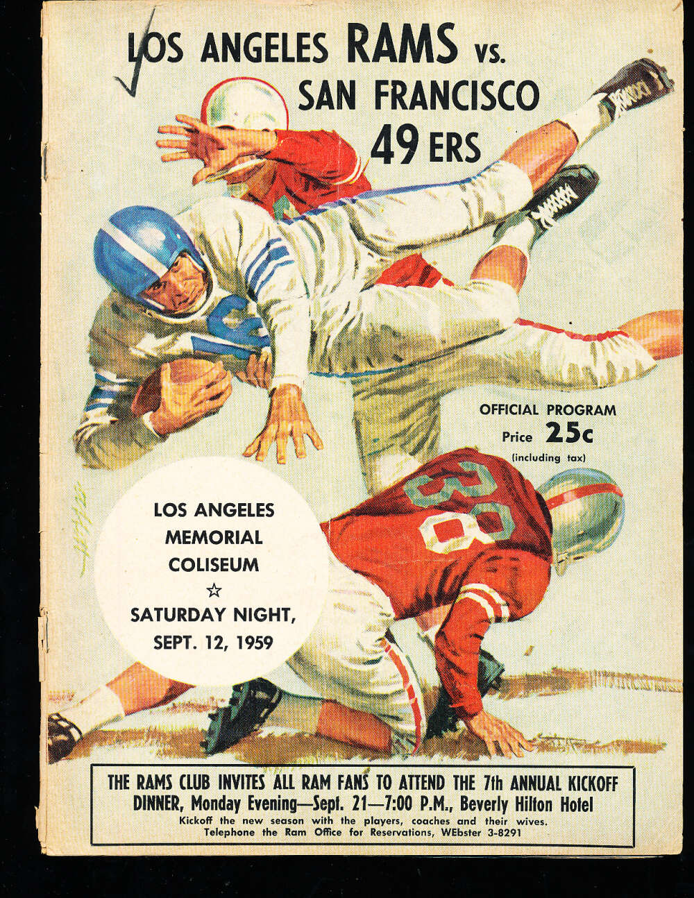9/12 1959 San Francisco 49ers vs Los Angeles Rams football program