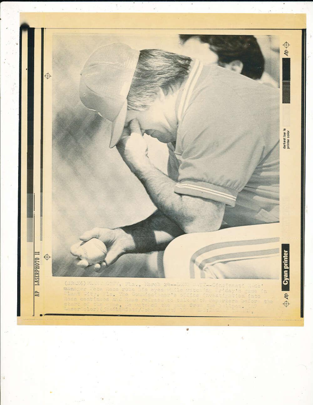 1989 Pete Rose under investigation wire photo