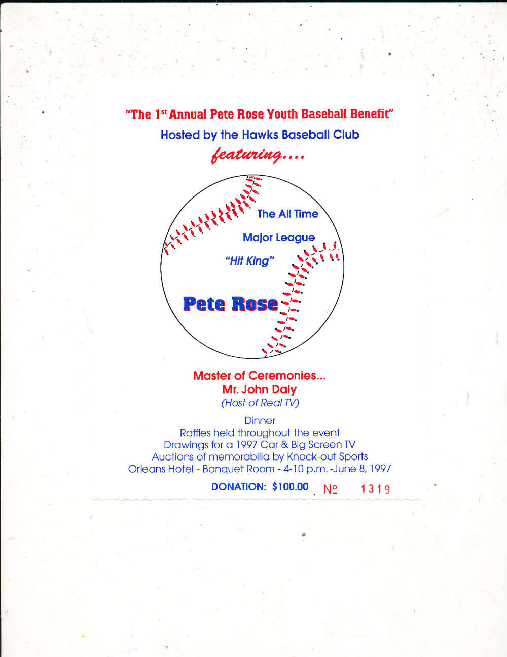 1st Annual Pete Rose Youth Baseball Benefit 1977 raffle ticket