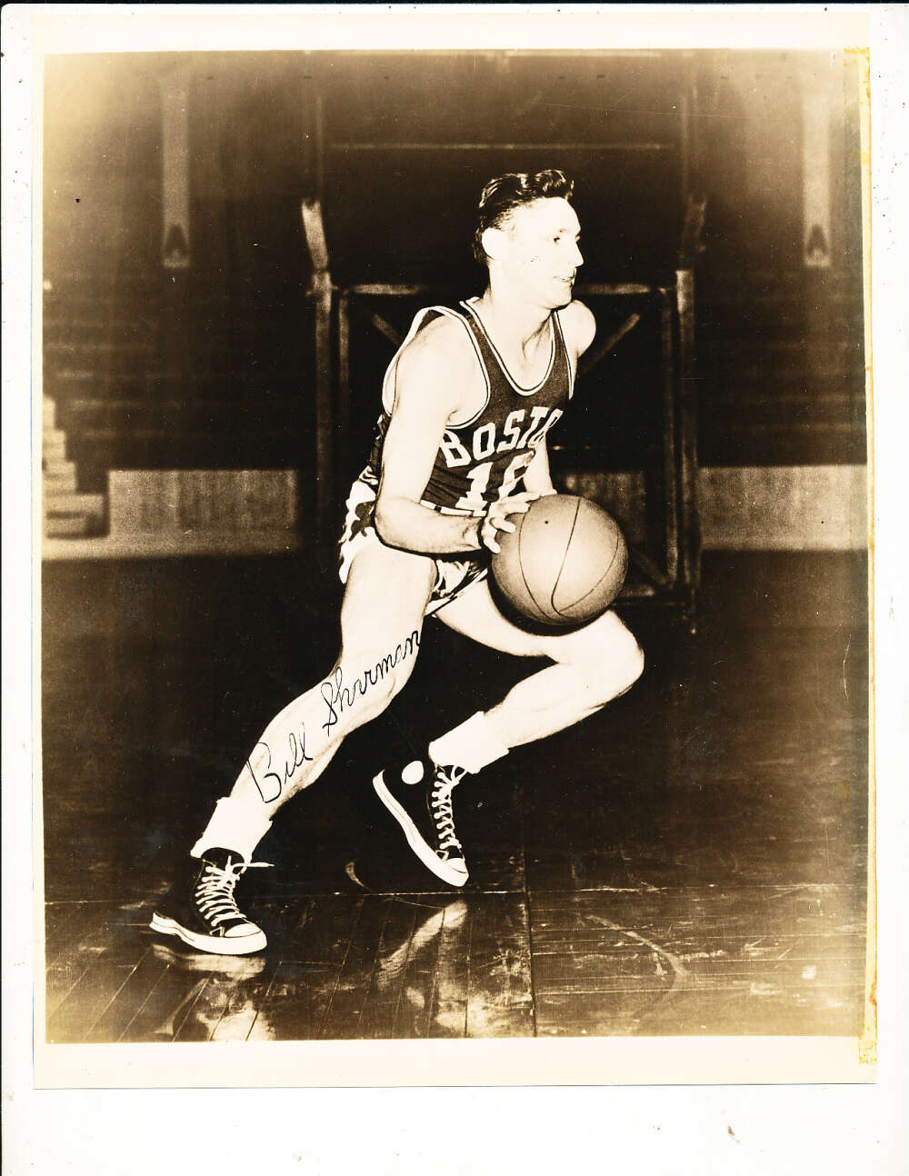 Bill Sharman Boston Celtics B&W vintage signed 8x10 photo