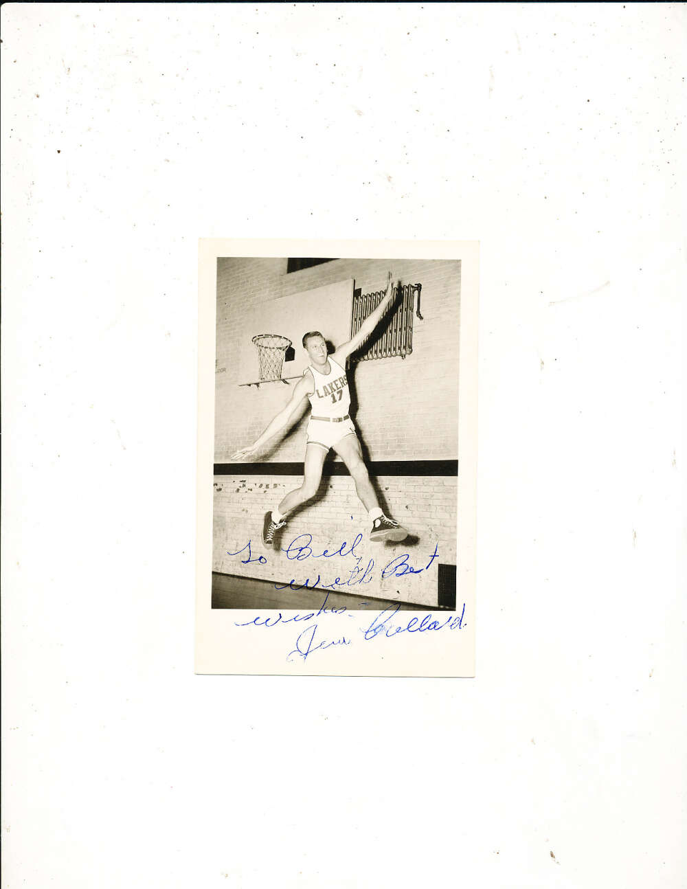 1950's Jim Pollard Signed Vintage Minneapolis Lakers signed post card