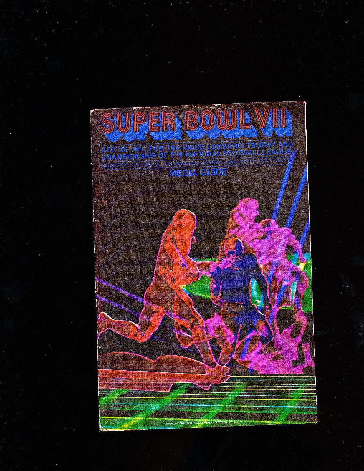 Superbowl VII Press Media Guide Dolphins vs Redskins
