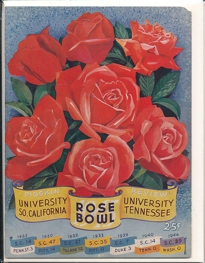 1945 Rose Bowl football program USC Tennessee ex