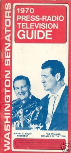 1970 Washington Senators press guide ted williams
