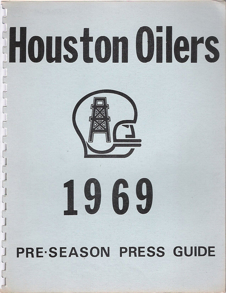 Houston Oilers 1969 Pre-Season Press  Media Guide