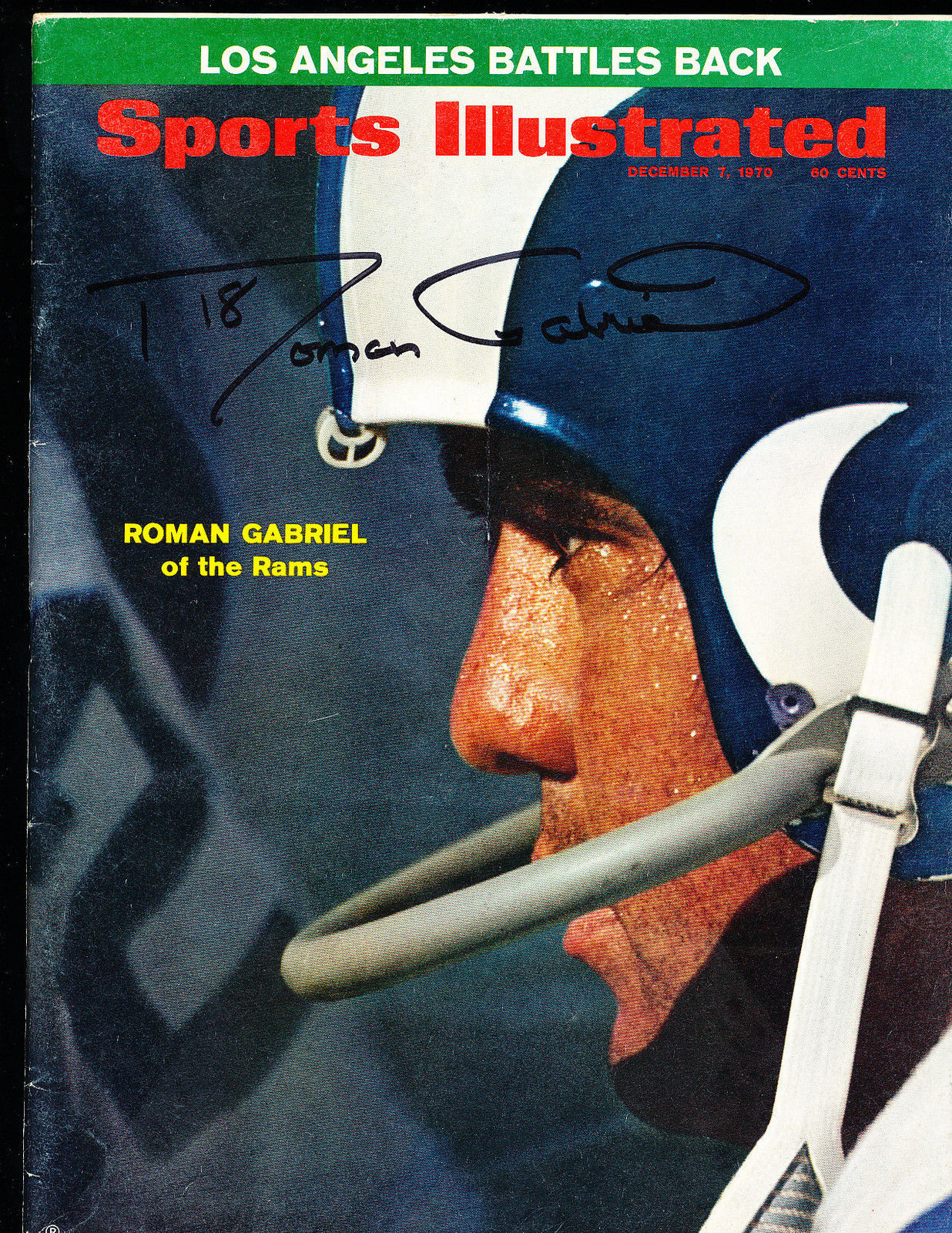 12/7 1970  Sports Illustrated Roman Gabriel Rams newsstand SIGNED AUTOGRAPH