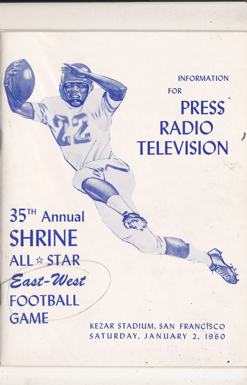 1/2 1960  - 35th Shrine All East West Football Bowl media press radio tv guide