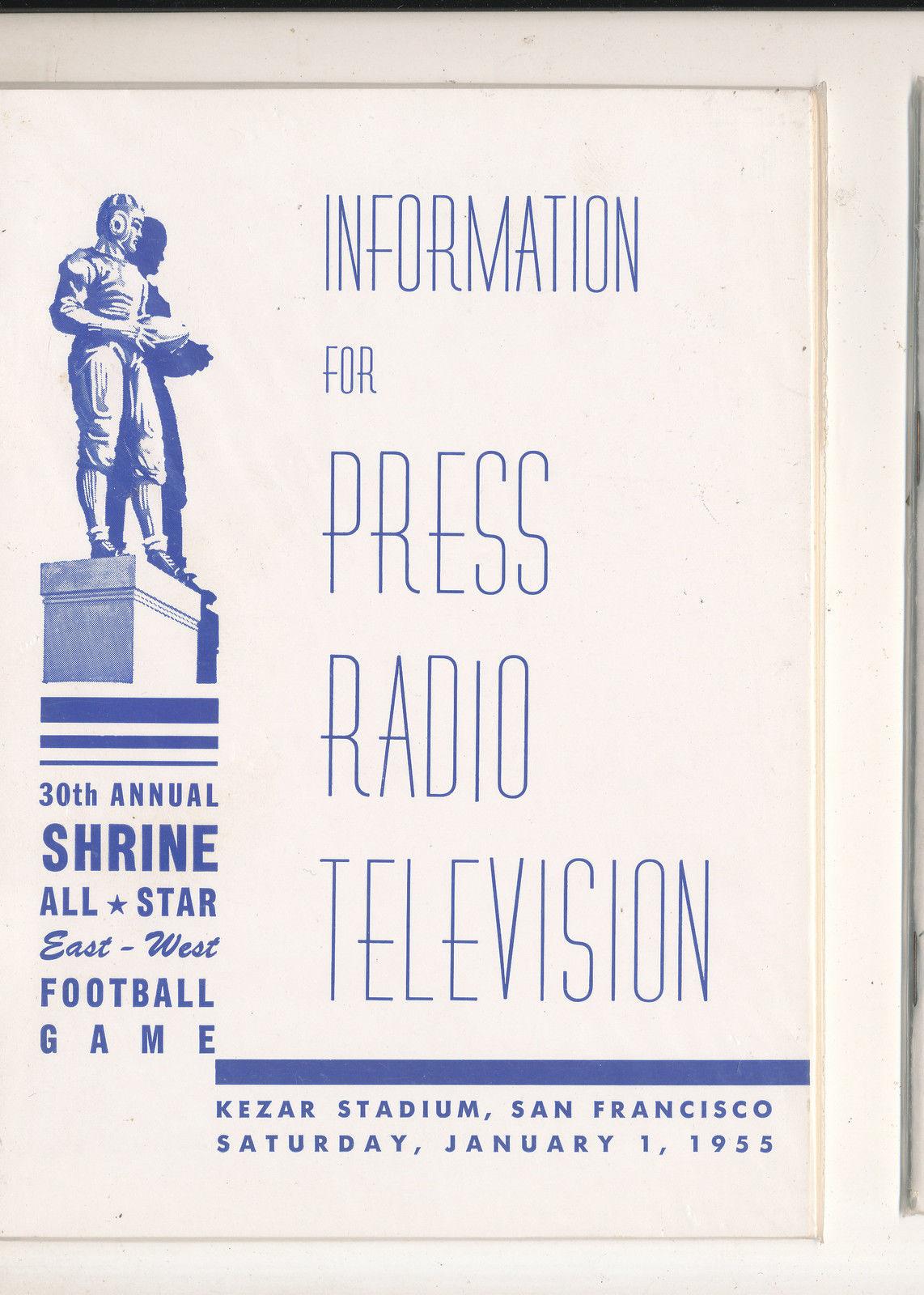 1/2 1955  - 30th Shrine All East West Football Bowl media press radio tv guide