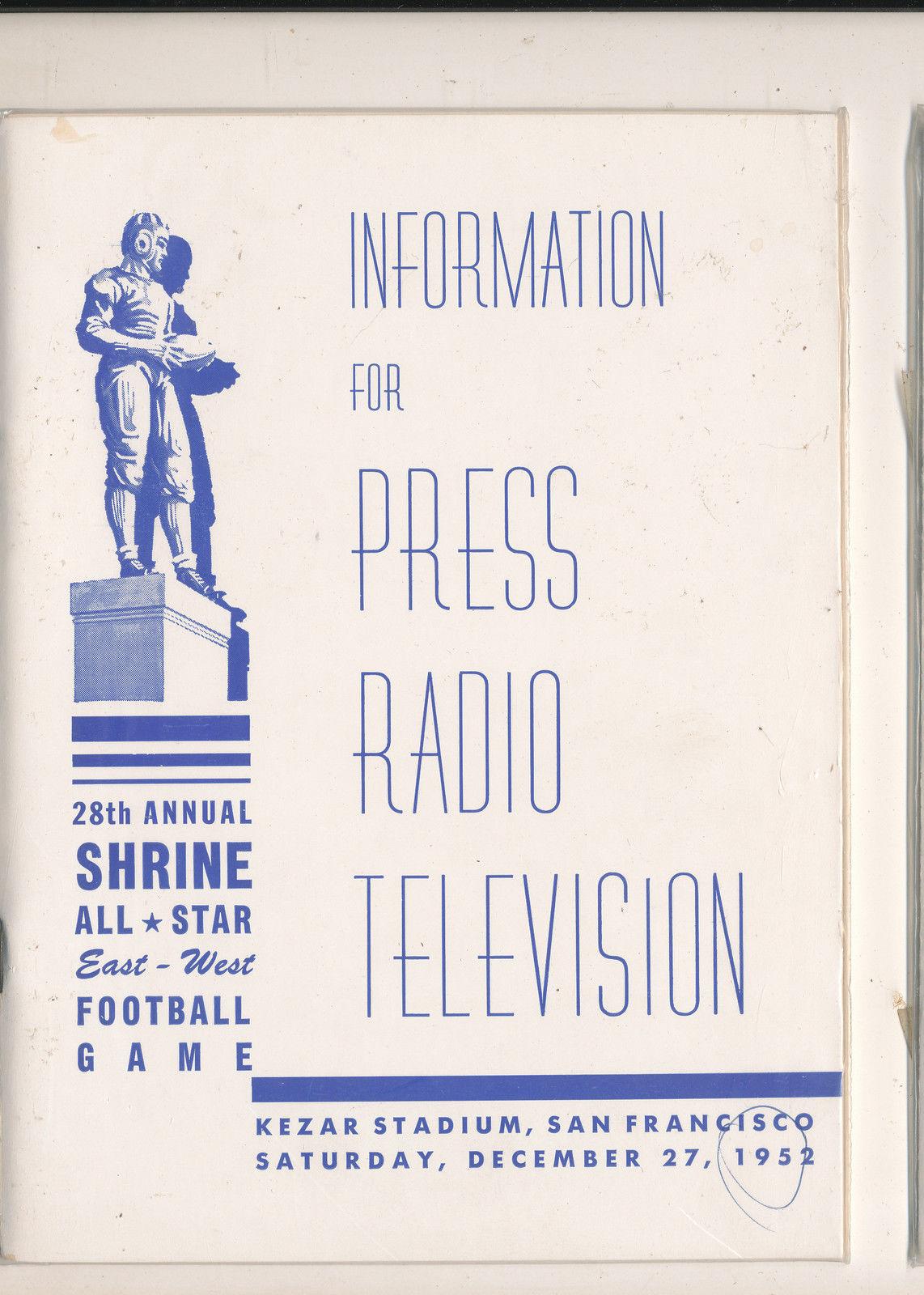 1/2 1952  - 28th Shrine All East West Football Bowl media press radio tv guide