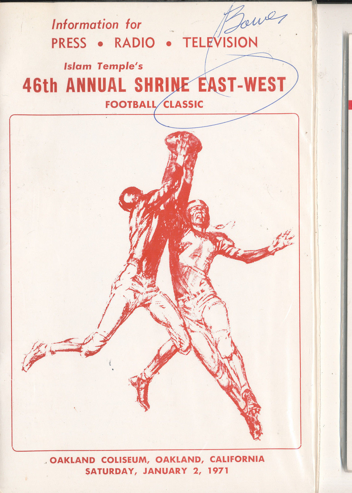 1/2 1971  - 46th Shrine All East West Football Bowl media press radio tv guide