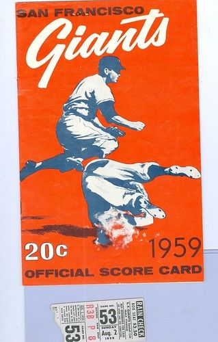 1959 Willie McCovey first home run program and  Ticket  8/2/59