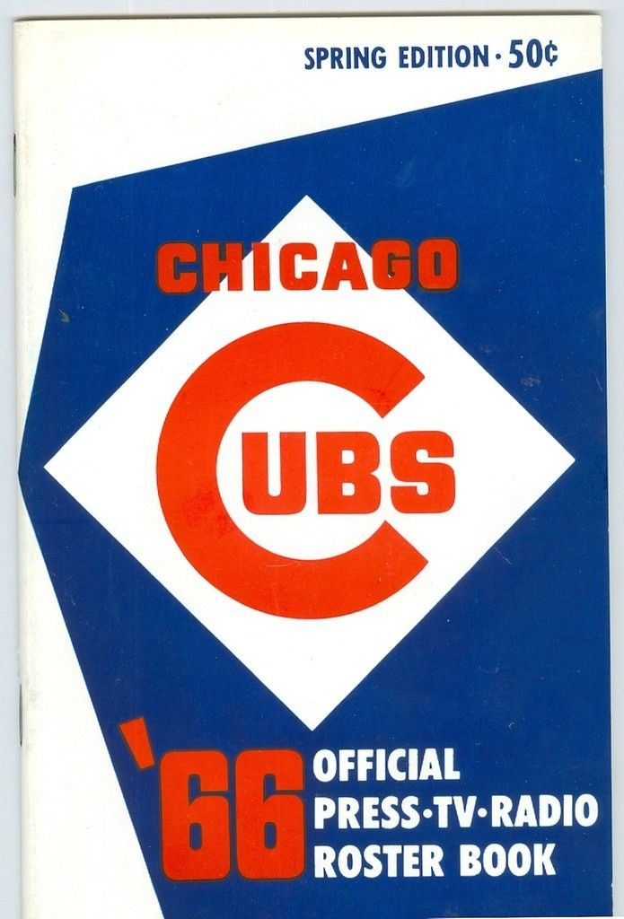 Chicago Cubs Roster Press Guide nm  1966 spring ed
