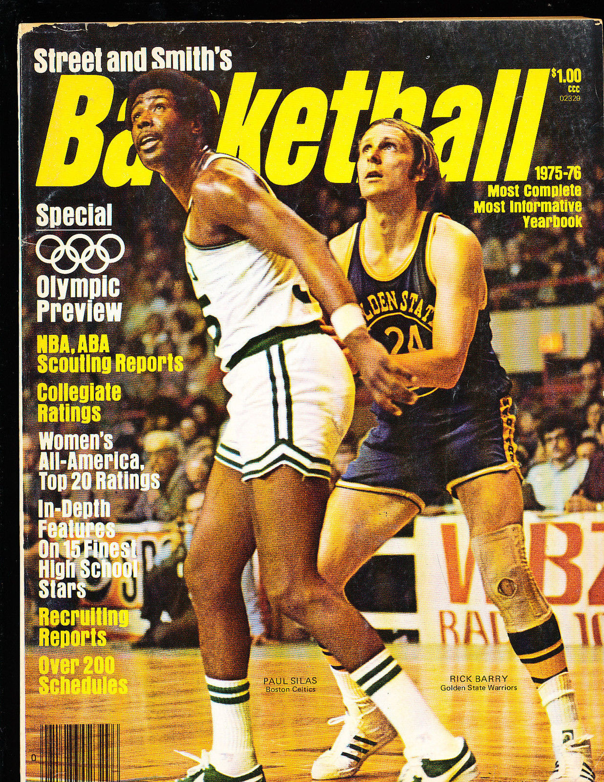 1975 -76 Street Smith Basketball yearbook Guide Rick Barry Warriors Paul Silas