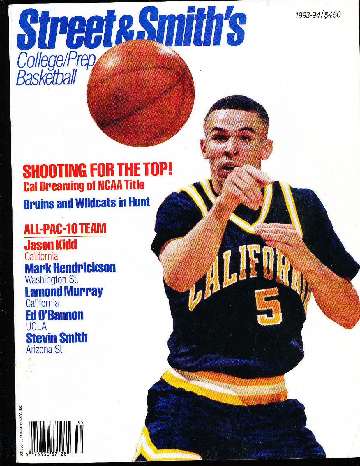 1993 Street Smith college Basketball yearbook Guide Jason Kidd California