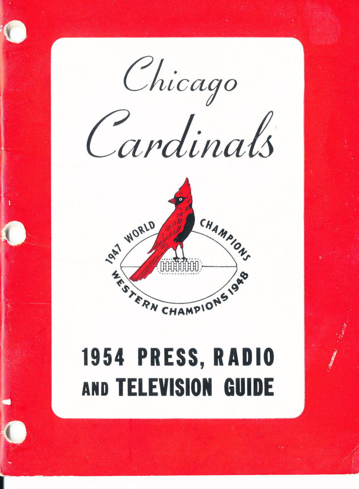 1954 Chicago Cardinals Football Press media Guide      bx fg1