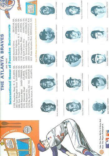 1970 Atlanta Braves IHOP Placemat hank aaron em