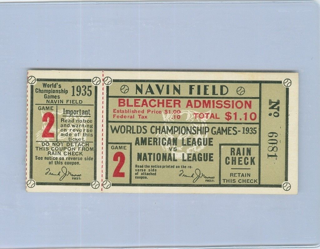 1935 World Series Ticket Game 2 Navin Field em