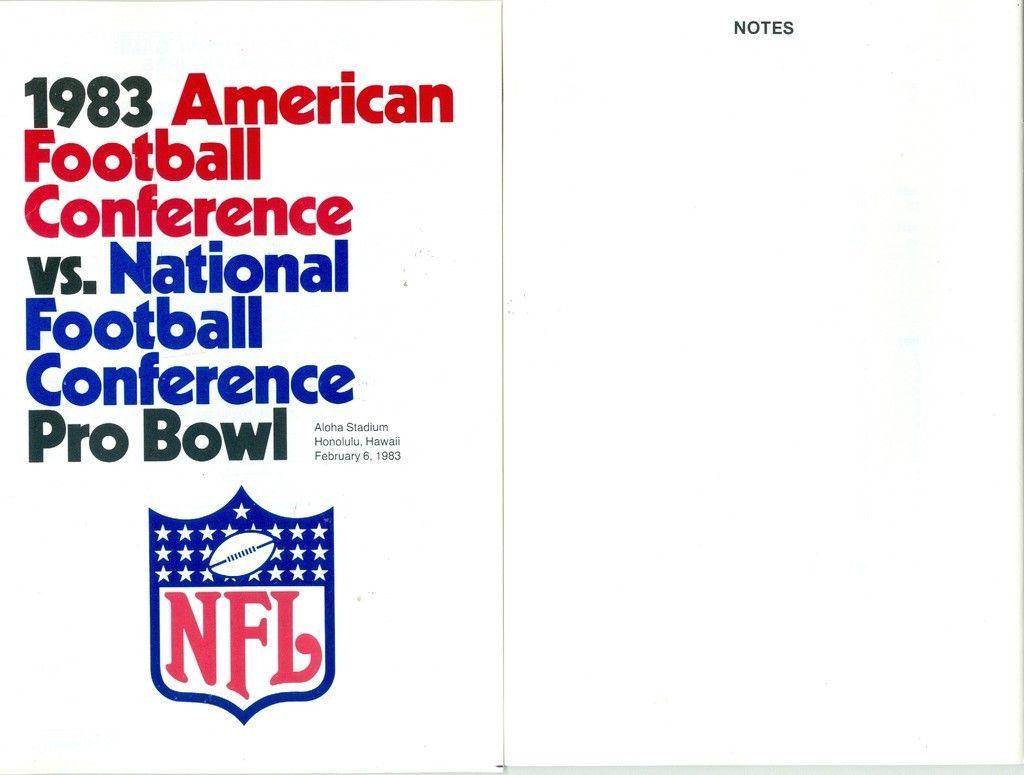 1983 afc NFL VS AFL pro bowl press guide nm