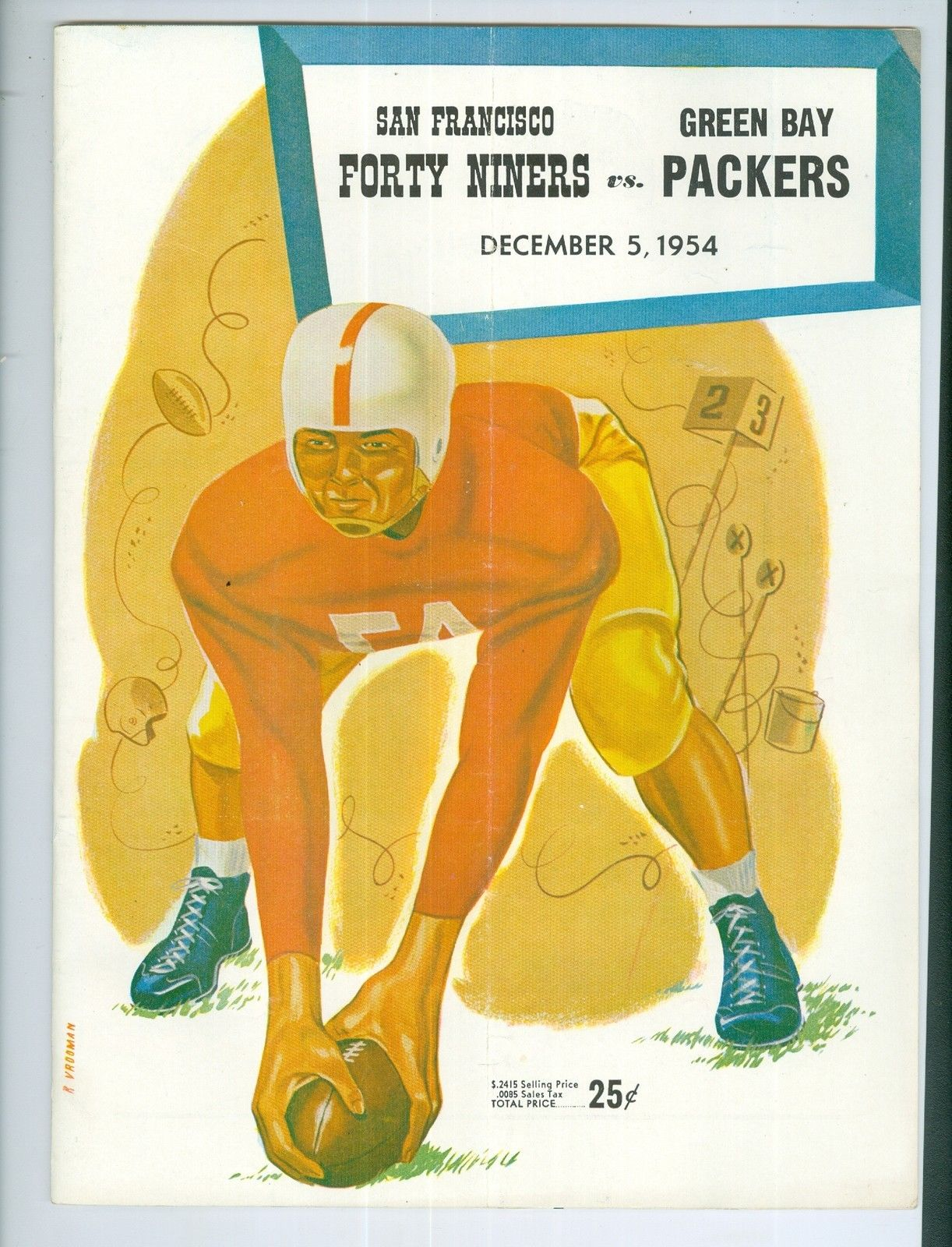 12/5 1954 49ers vs Packers football program ex (crease)