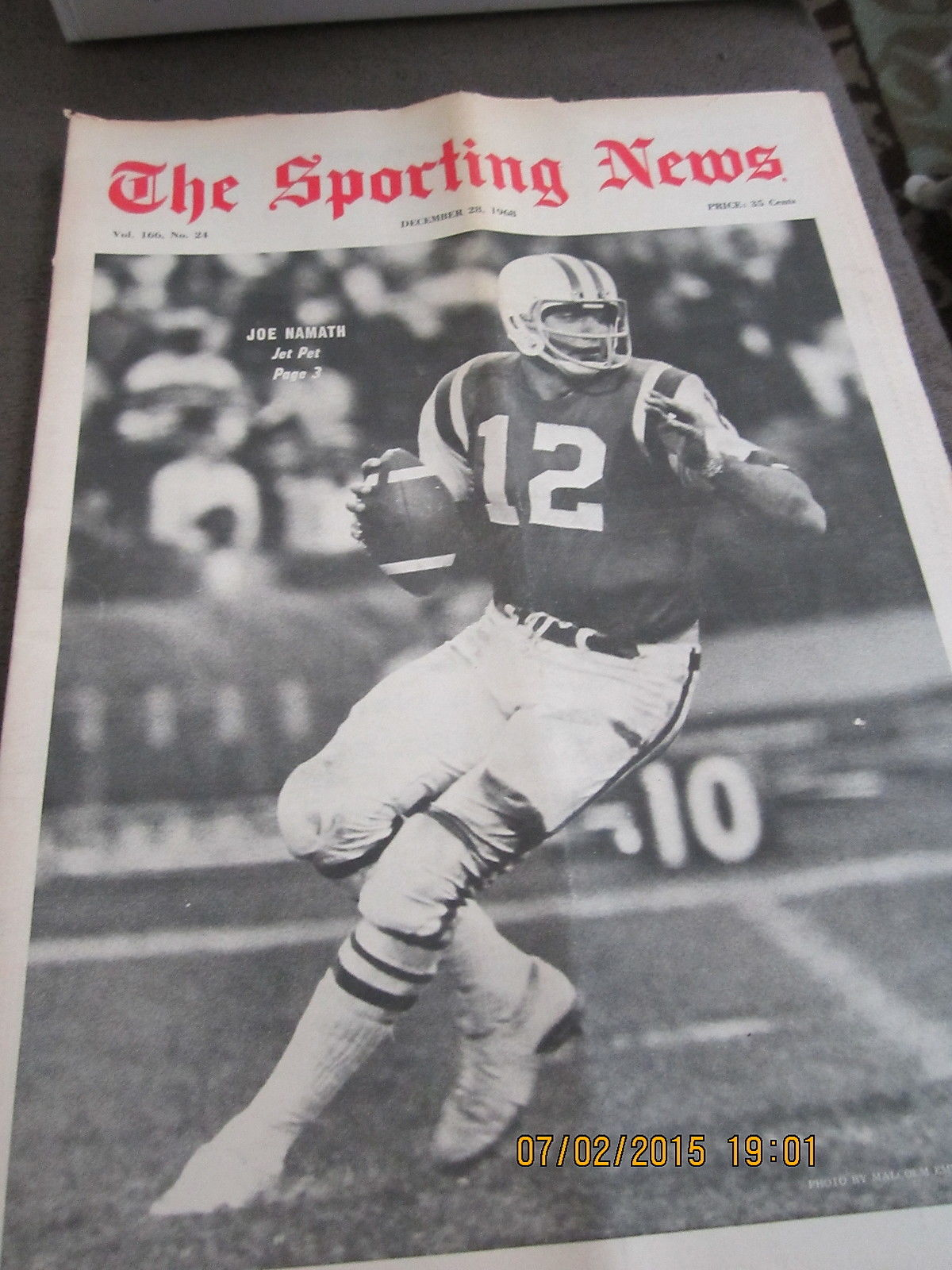 12/28 1968 The Sporting News Joe Namath New York Jets