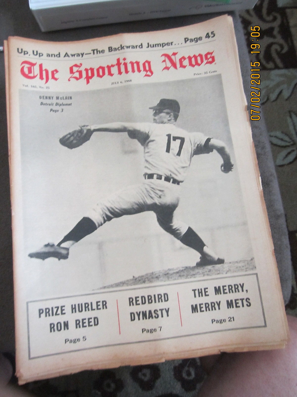 7/6 1968 The Sporting News Denny McLain Detroit Tigers