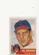 Al Rosen Cleveland Indians #135, Signed 1953 Topps Baseball Card vg tear