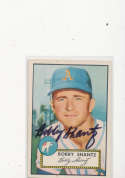 Bobby Shantz Athletics #219, Signed 1952 Topps Baseball Card em