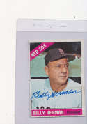 Billy Herman Boston Red Sox #37, Signed 1966 Topps Baseball Card em