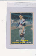 Bob Lemon Cleveland Indians #120, Signed 1957 Topps Baseball Card ex