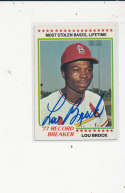 Lou Brock Cardinals #1, Signed 1978 Topps Baseball Card
