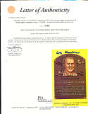 AB Chandler HOF yellow plaque signed post card JSA letter