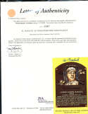 Al Barlick HOF yellow plaque signed post card JSA letter