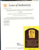 Stanley Coveleski HOF yellow plaque signed post card JSA letter