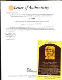 Lloyd Waner HOF yellow plaque signed post card JSA letter