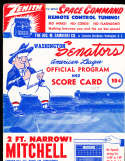 1957 Washington Nationals uncored baseball program (spine split at top)