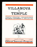 11/12 1938 Temple  vs Villanova football program