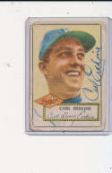Carl Erskine Brooklyn dodgers gd 1952 Signed #250 topps card