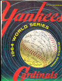 1964 World Series scored Program Yankees vs Cardinals (center page loose) a1