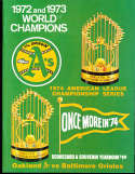 1974 ALCS Oakland A's vs Baltimore Orioles Baseball Program