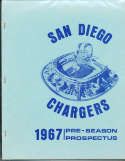 1967 San Diego Chargers Preseason football Prospectus; 30 pages;  8x10