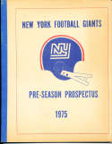 1975 New York Football Giants Pre SeasonProspectus; 30 pages;  8x10