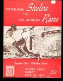 1953 9/20 Los Angeles Rams vs Pittsburgh Steelers Football program