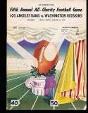 1949 8/26 Los Angeles Rams vs Washington Redskins Football program; spine split