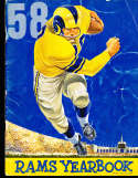 1958 Los Angeles Rams Football Yearbook creased on the front