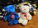 "2 8"" petting zoo white and blue bears"