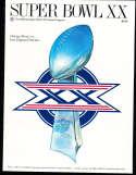 Superbowl XX 20 Football Program NM Chicago Bears vs Patriots