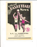 1934 2/10 USC vs California Scored Basketball Program