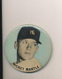 1960's large pm10 baseball pin button Mickey Mantle Blue